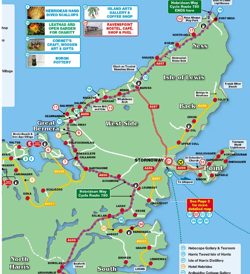 Hebridean Cycle Route Lewis map